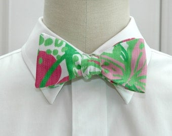 Lilly Bow Tie in pop pink In the garden (self-tie)