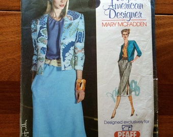 80s Vogue Mary McFadden Semi Fitted Jacket Pullover Bouse Fitted Skirt Size 6 8 10 12 14 Bust 30  31 32 34 36