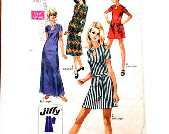 70s Simplicity 8722 Jiffy Dress Keyhole Neckline or Long or Short Sleeves Size 12 Bust 34