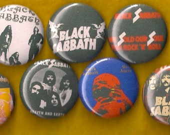 """BLACK SABBATH 1"""" Pins Buttons Badges Set of 7 Ozzy Heavy Metal 70s doom metal Born Again Sold Our Souls"""