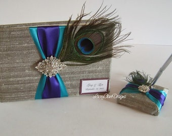 Peacock Wedding Guest Book and Pen Set - Custom Made