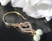 Gold Earrings,Pearl Earrings,Bridal,Rhinestone,Dangle Earrings,Bridal Gift,Wedding Gift,Birthday Gift,White Pearl Earrings