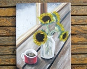 Fall Painting - Sunflower Art - Sunflower Painting - Original Painting - Country Art - Farmhouse Decor - Fall Decor - Sunflower Decor - Farm