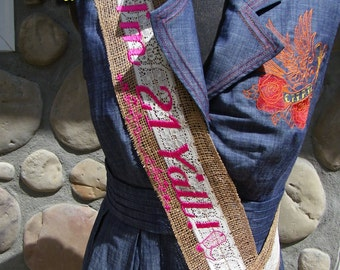 Vintage Monogramed Country Charm Burlap Embroidered Bride or Birthday Sash