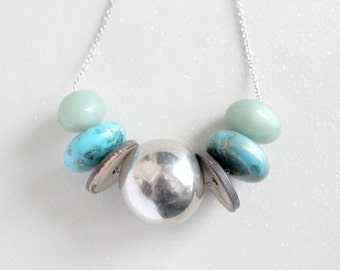 Bold Geometric Beaded Necklace in Silver, Turquoise, Brown and Mint // CLEARANCE SALE