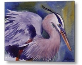 Great Blue Heron Print on Wood Bird Art by Janet Zeh