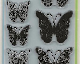 Inkadinkado Brand Clear Acrylic Stamp Set  --  NEW --Patterned Butterflies  (#330)