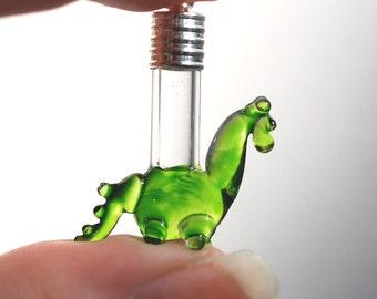 NAME ON RICE. Green Dragon/Dinosaur Glass bottle/vial pendant