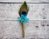 Peacock Boutonniere - Peacock and Teal Wildflower Wedding Boutonniere
