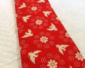 Vintage Red Tie With White Birds and Flowers Summer Tie