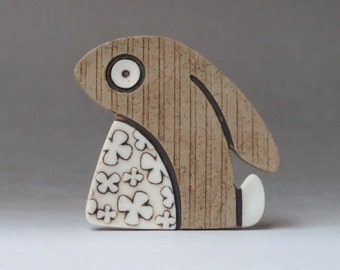 Sad rabbit brooch, stoneware with porcelain inlays gift for those who love rabbits, hares and all things to do with bunny's