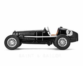 Black No.7 Vintage Race Car on White Background, One Photo Print, Boys Room decor, Vintage Car Prints