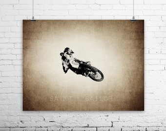 Freestyle Motocross Tabletop Jump on Vintage, Wall Decor, Wall Art,  Kids Room, Gift Ideas, Motorcycle Prints
