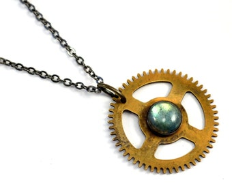 Gear Necklace, Steampunk Necklace, Labradorite Pendant