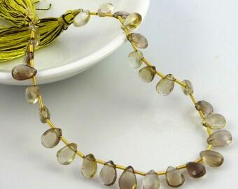 bio lemon quartz faceted pear briolette beads 8-10mm 1/2 strand