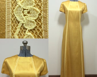 Vintage 60s Gold Evening Gown / Formal Dress / Mustard Yellow / Size M