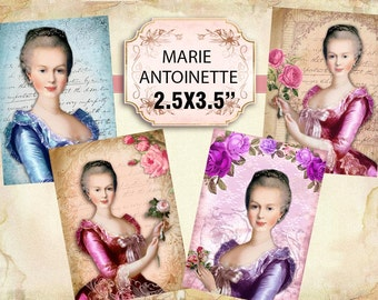 Printable Beautiful Marie Antoinette Images Shabby chic Scrapbook Decoupage 2.5x3.5 inch (415)