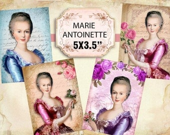 Printable Beautiful Marie Antoinette Images Shabby chic Scrapbook Decoupage 5x3.5 inch (416)