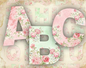 Roses Alphabet Shabby Chic printable alphabet set - JPG or PNG file (422) Buy 3 - get 1 bonus