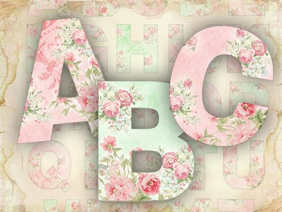 Roses Alphabet Shabby Chic printable alphabet set JPG or PNG