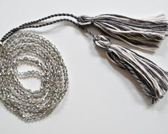 ON SALE Long Gray Crystal Tassel Necklace