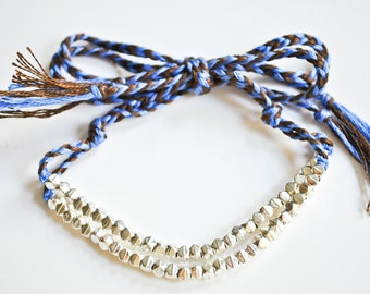ON SALE Silver Plated and Blue Brown Cord Friendship Bracelet