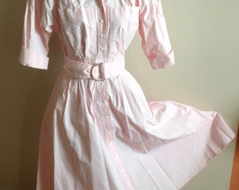 Vintage Pink and White Striped Cotton Dress