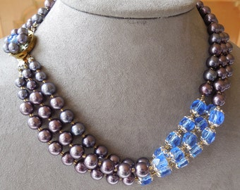 Mauve & Blue Crystal 3 Strand Choker Necklace    JCD6