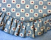 Heart Throw Rug 1980s Vintage Handmade Americana Red, White, Blue