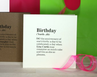 Personalized 'Birthday' Definition Card