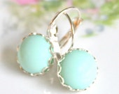 Mint Green Round Pastel Silver Scalloped Alabaster Lacy Edge Lever Back Drop Dangle Earrings - Wedding, Bridesmaid,Bride, Beach
