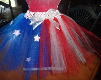 Flag Patterned Patriotic Tutu with Red, White and Blue Tulle, White Stars, and White Bow