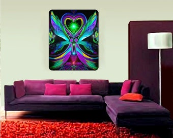 "Huge Twin Flames Angel Art, Soulmates, Reiki Tapestry ""Unconditional Love"" 40"" x 50"""