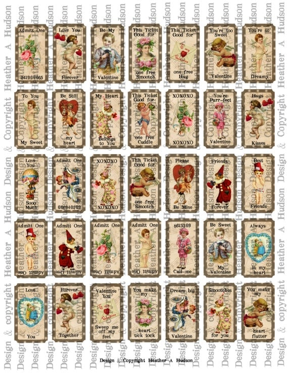 Victorian Vintage Valentine's Day Shabby Chocolate Cream Tickets Digital Collage sheet Printable