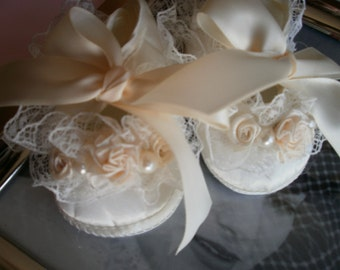 Ivory Satin Baby Shoes ,Christening and Baptism, Crib Shoes, Newborn, Fancy Shoes, First Shoes, Elegant, Satin Shoes, Embellish Shoes, Shoes
