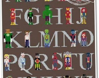 Superhero Alphabet Sampler - The *Original* Pixel People - PDF Cross stitch Pattern - INSTANT DOWNLOAD