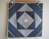 never used geometric pillow cover, 1980s hmong seminole mountain triangles quilted handmade deadstock envelope style