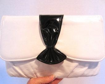 Vintage Leather Black & White Shoulder Bag coverts to Clutch, Handbag, Purse