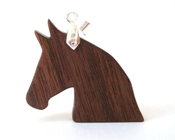 Horse Head Silhouette Necklace Wood Pony Walnut Hand Cut Pendant Scroll Saw