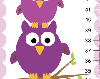 Personalized Girls GROWTH CHART Stacked Owls, Purple Height Chart Girls Kids Bedroom Baby Nursery Wall Art