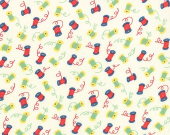 30's Playtime - Spools in Porcelain by Chloe's Closet for Moda Fabrics