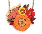 Autumn posy necklace ~ handpainted laser cut flower necklace