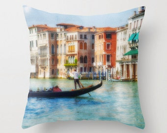 Pillow Cover, Italy Art, Canal, Venice, Gondola, Gondolier, Decorative Throw Pillow Cover, 16x16, 18x18, 20x20