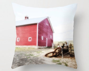 Pillow Cover, Red Barn, Decorative Throw Pillow Cover, fPOE, 16x16, 18x18, 20x20