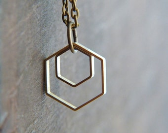 Hexagon Necklace - Geometric Necklace - Nesting Necklace - Geo Necklace - Modern Jewelry - Minimalist Necklace