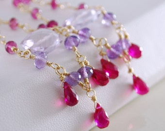 Long Gemstone Earrings, Chandeliers, Purple Amethyst Pink Tourmaline Pale Lilac, Wire Wrapped, Gold Jewelry, Free Shipping