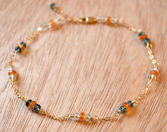 Delicate Gold Anklet, London Blue Topaz, Aquamarine, Orange Mandarin Garnet, Gemstone Jewelry, Gold Filled Ankle Bracelet, Free Shipping