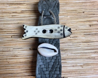 Gray Textured Leather Cowry and Fish Bracelet