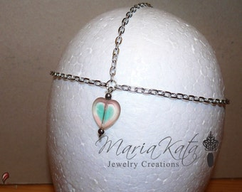Newborn/Baby to Adult Head Chain- with Glass heart pendant