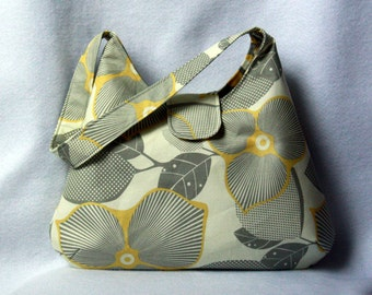 Hobo Bag - Gray and Yellow Floral - Amy Butler Optic Blossom Purse